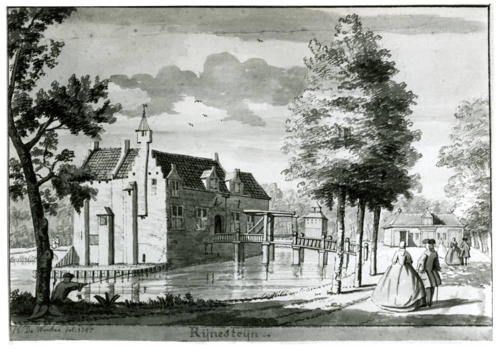 Huis Rijnestein in Jutphaas. Tekening Hendrik de Winter, 1745